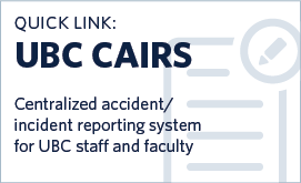 Login to CAIRS to report workplace health and safety incidents or accidents